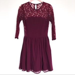 Burgundy Lace Mini Dress From Topshop